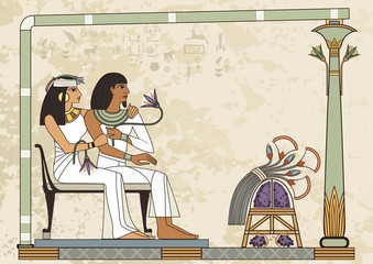 Stylized ancient culture background.Murals with ancient egypt scene