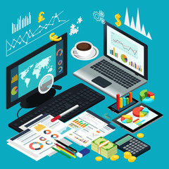 Isometric View of Business Desktop