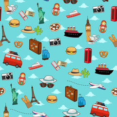 Seamless Vacation Travel Pattern Wallpaper Background