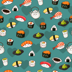 Seamless Sushi Pattern Wallpaper Background