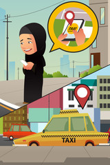 Muslim Woman Calling Taxi from Her Cellphone