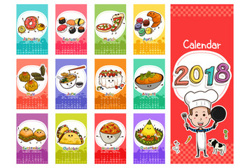 2018 Food Themed Calendar in Cartoon Style