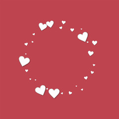 Beautiful paper hearts. Small round shape on crimson background. Vector illustration.