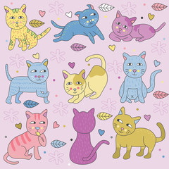 Doodle Cats in Many Pose Pastel Colors