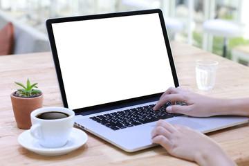 Businessman at work using a desktop computer of the blank screen
