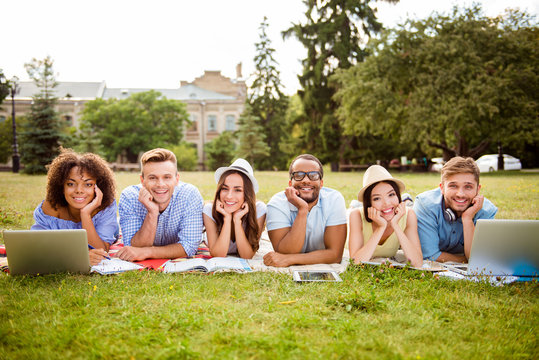 Six cheerful classmates are lying down on plaid on the green grass in spring sunny park near campus and study, preparing for exams, tests, with books, notepads, laptops, tablets
