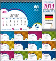 Desk triangle calendar 2018 colorful template. Size: 21 cm x 15 cm. Format A5.  Vector image. German version
