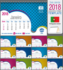 Desk triangle calendar 2018 colorful template. Size: 21 cm x 15 cm. Format A5.  Vector image. Portuguese version