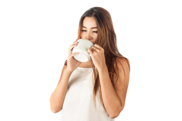 Portrait of asian woman drinks cup of coffee