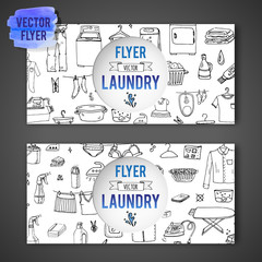 Hand drawn doodle Laundry flyer set Vector illustration washing icons Laundry concept elements Cleaning business symbols collection Housework Equipment Facilities for washing, drying, ironing clothes