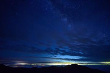 雲海と夜景 白山室堂からの眺め