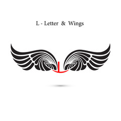 L-letter sign and angel wings.Monogram wing logo mockup.Classic emblem.Elegant dynamic alphabet letters with wings.Creative design element.Corporate branding identity.