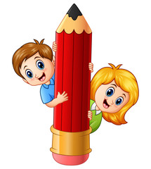 Cartoon kids holding pencil