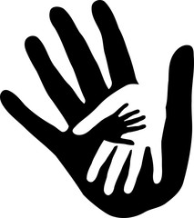 Drei Hände, Aufkleber Label, Familien Logo