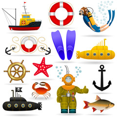 Marine set of objects and characters. Marine animals, water transport, equipment and people under water. Vector .