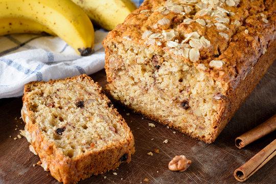 Homemade banana bread loaf closeup view