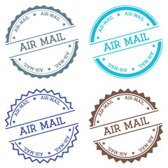 Air-mail badge isolated on white background. Flat style round label with text. Circular emblem vector illustration.