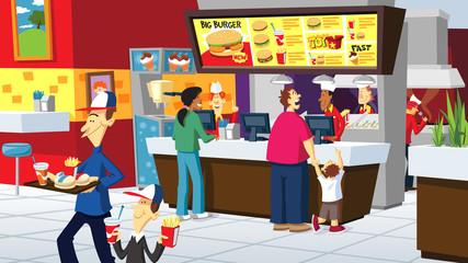 Fast Food Counter with people