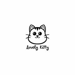 Lovely Kitty, Cute Cat Black And White Line Art Logo Vector Design Illustration