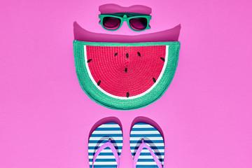 Beach Sunny Set. Fashion Summer Accessories, Film Camera, Glamor Watermelon Clutch, Stylish Sunglasses, Trendy Flip Flops on Pink. Hot Vibes. Sweet Bright summer color. Creative Fun. Minimal, Art