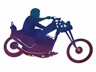 illustration of rider on motorbike , vector drawing