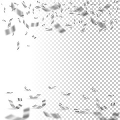 Falling silver confetti on transparent background. Vector holiday design element.
