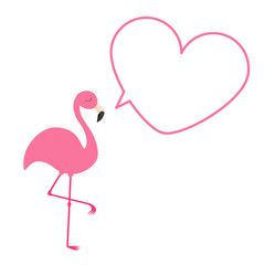 Pink flamingo. Heart frame talking bubble template. Exotic tropical bird. Zoo animal collection. Cute cartoon character. Decoration element. Flat design. White background. Isolated.