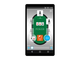 Online mobile poker game app concept vector illustration design