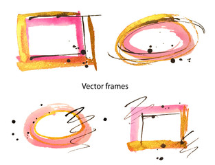 Abstract four gold, pink and black watercolor frames on white background. Vector illustration