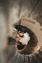 Beautiful, passionate wedding couple posing on stairs