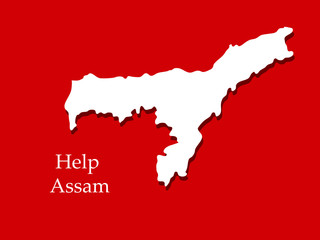 Illustration of Assam map for flood in Assam background