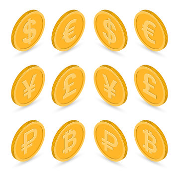 Set of icons coins