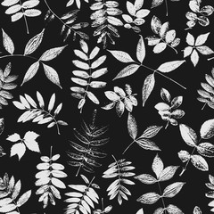 Seamless pattern with plants and leaves