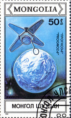 UKRAINE - CIRCA 2017: A postage stamp printed in Mongolia shows Artificial Earth Satellite Prognoz from series Space research, circa 1988
