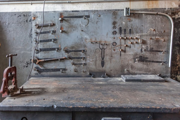 workbench in abandoned factory