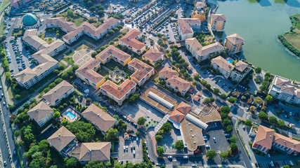 Foto op Aluminium Luchtfoto Aerial view of modern residential district and houses from above, real estate concept