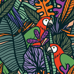 Colorful tropical pattern with exotic plants and parrots. Seamless vector tropical pattern with leaves and birds