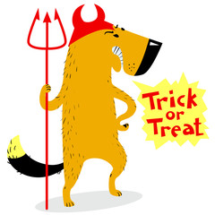 Halloween dog character in costume of devil with horns and trident