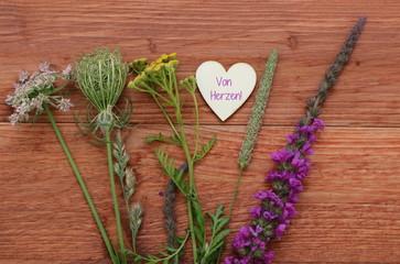 Grußkarte Blumenstrauß von Herzen