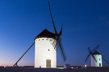 Windmills near Alcazar de San Juan at evening