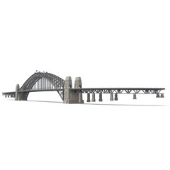 Sydney Harbour Bridge on white. 3D illustration