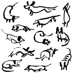Hand drawn doodle dachshund dogs. Illustration set
