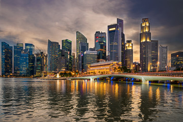 Business downtown in Singapore at twilight