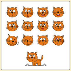 Set face funny kittens in cartoon style. Collection isolated heads of kitten on white backgrounds.