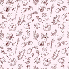 Autumn seamless pattern. Fall season background with leaves and vegetables.