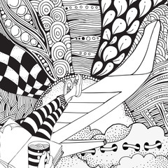 A man sits on the aircraft wing of an airplane and drinks coffee. Sky, sun, clouds, legs. It's time to travel. Coloring book for adult.
