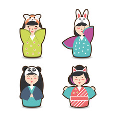 set japanese woman with costume hat design