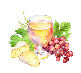 Pink wine glass, vine leaves, cheese and grape berries. Watercolor