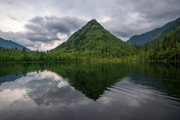 Poster Reflexion Mountain Cap of Monomakh reflected in the lake