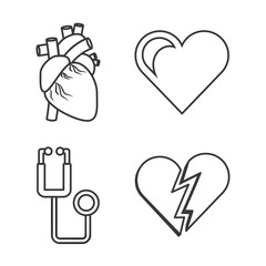 set heart conditions and stethoscope tool